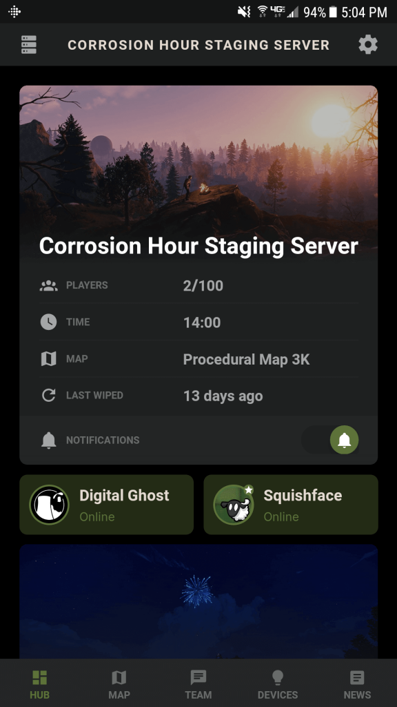 The paired server's hub screen