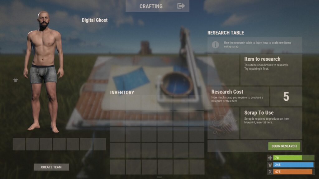 RUST Research Table Screen