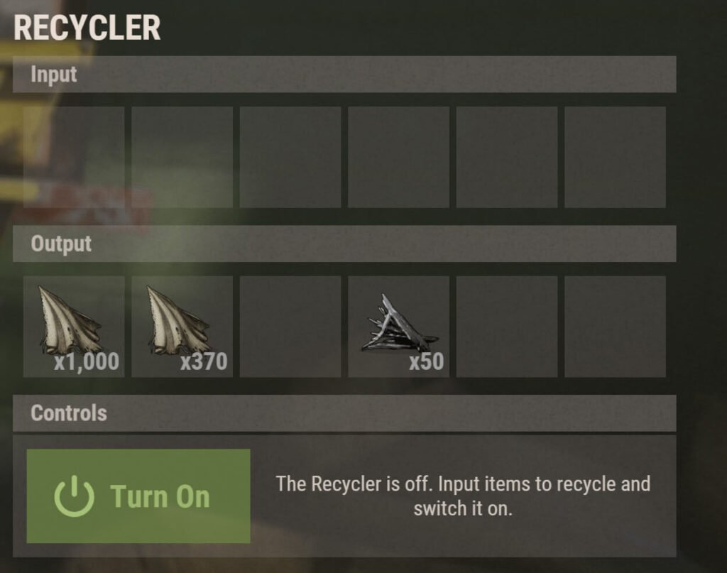 Recycler Inventory Window Output Results