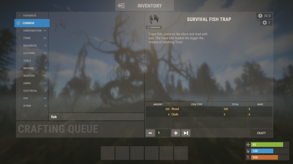 Crafting Survival Fish Traps in RUST