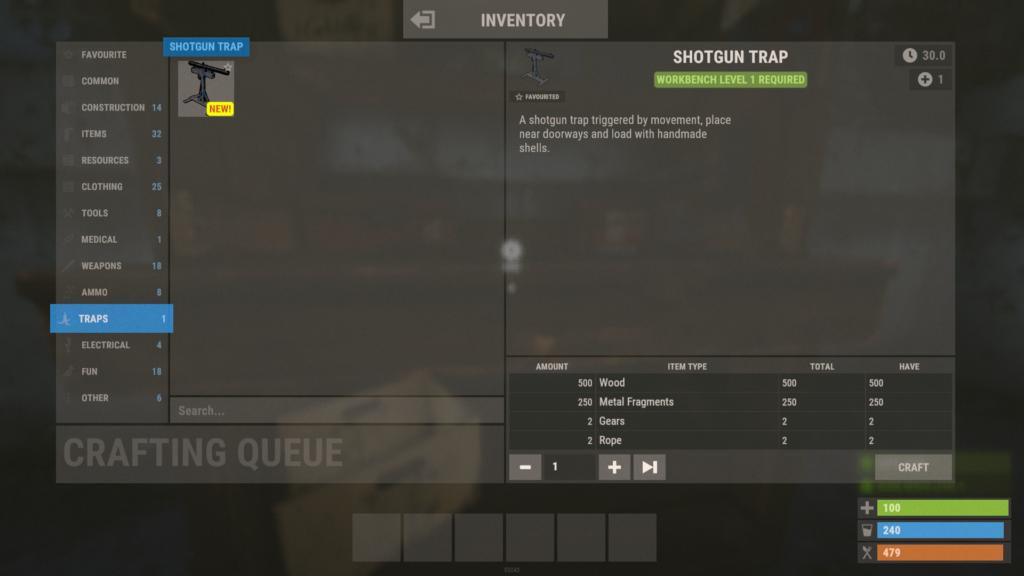 Crafting Shotgun Traps in RUST