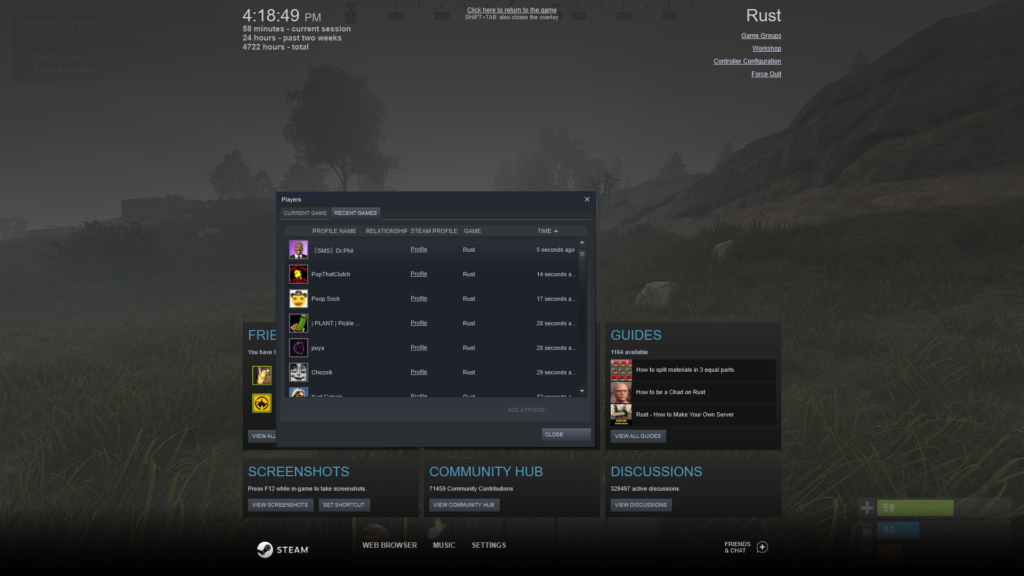 Using the Steam Overlay to view the RUST Player Count