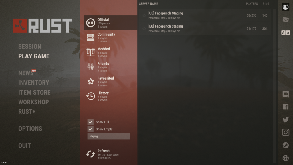 Official RUST Staging Servers