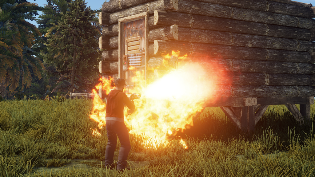 Use fire to remove walls in RUST