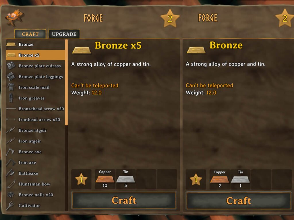 screenshot of crafting screens to forge bronze from tin and copper