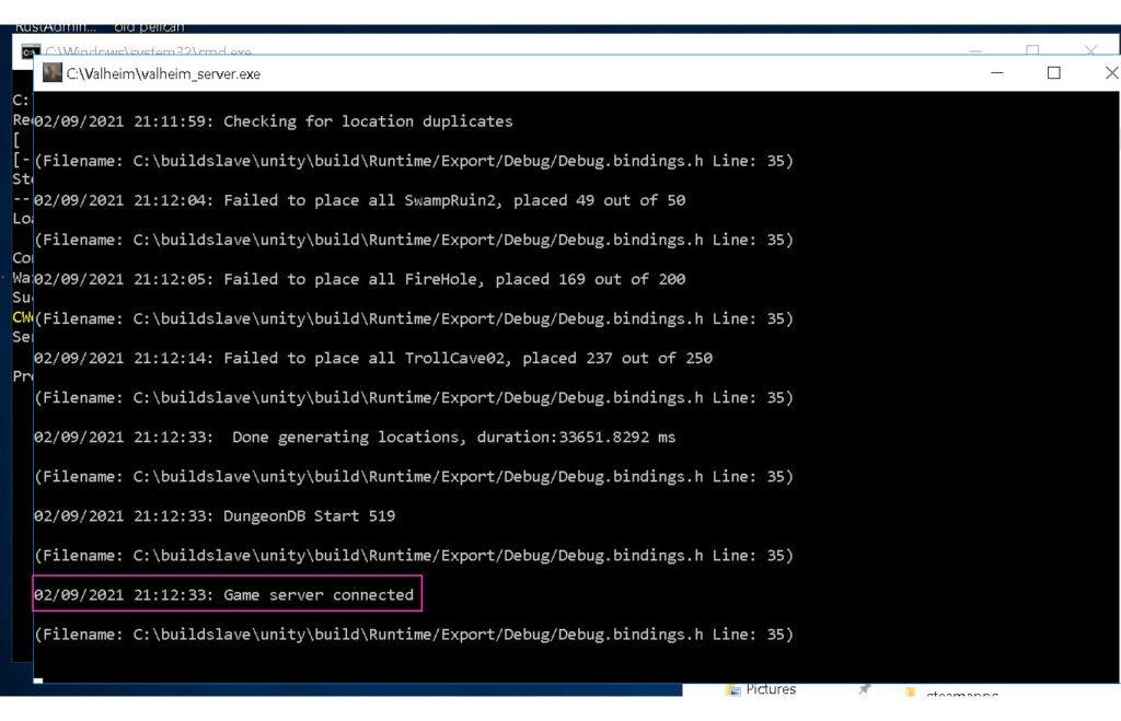 screenshot of server console