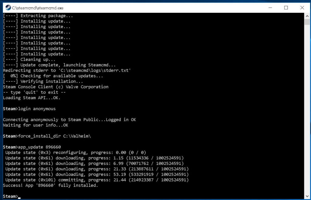 screenshot of steamcmd console downloading server files