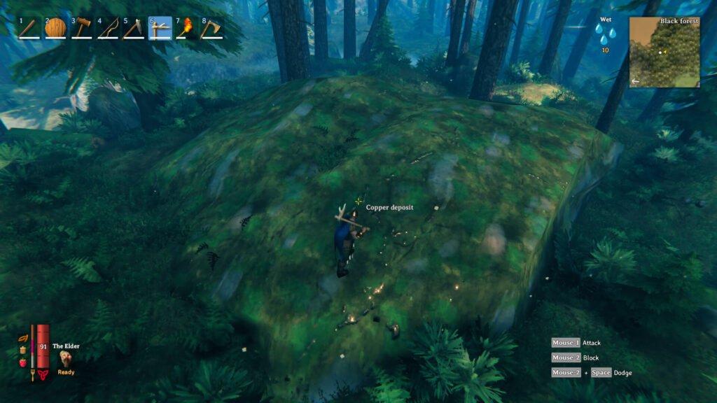 screenshot of a player avatar on a copper ore node