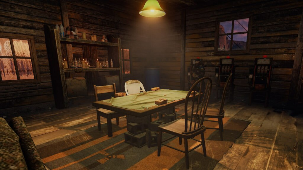 screenshot of a four player poker table in the rust bandit camp