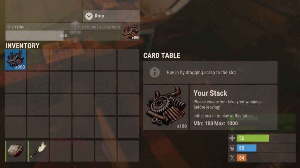 screenshot of the card table buy-in interface for RUST poker