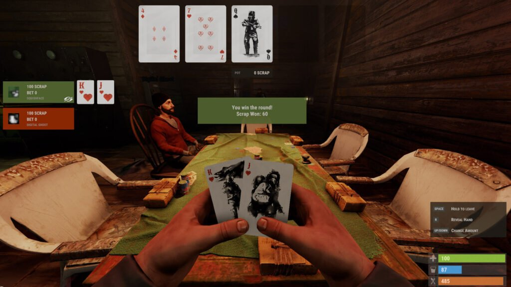 screenshot of a player playing their turn in RUST poker