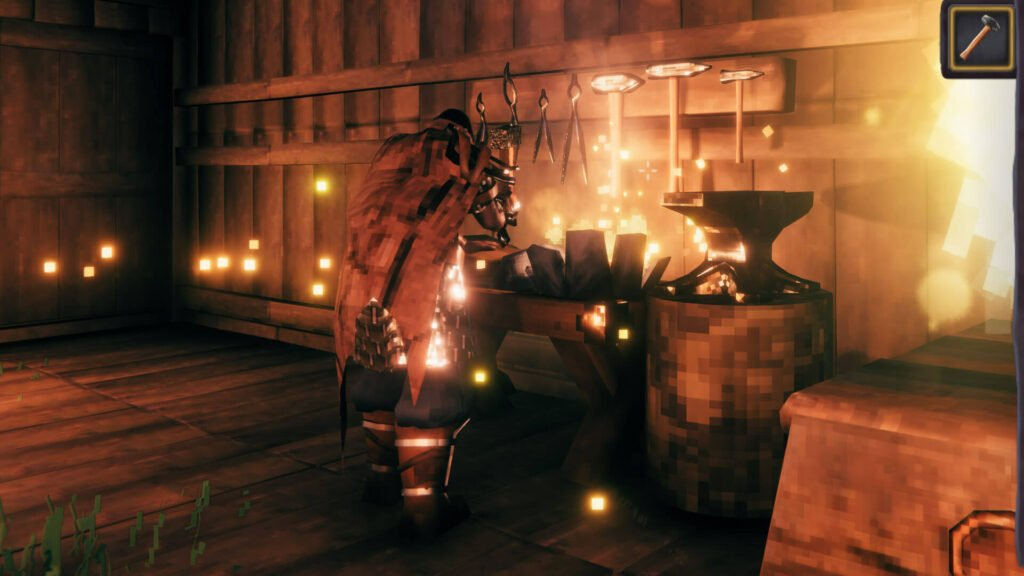 screenshot of a player repairing at a forge