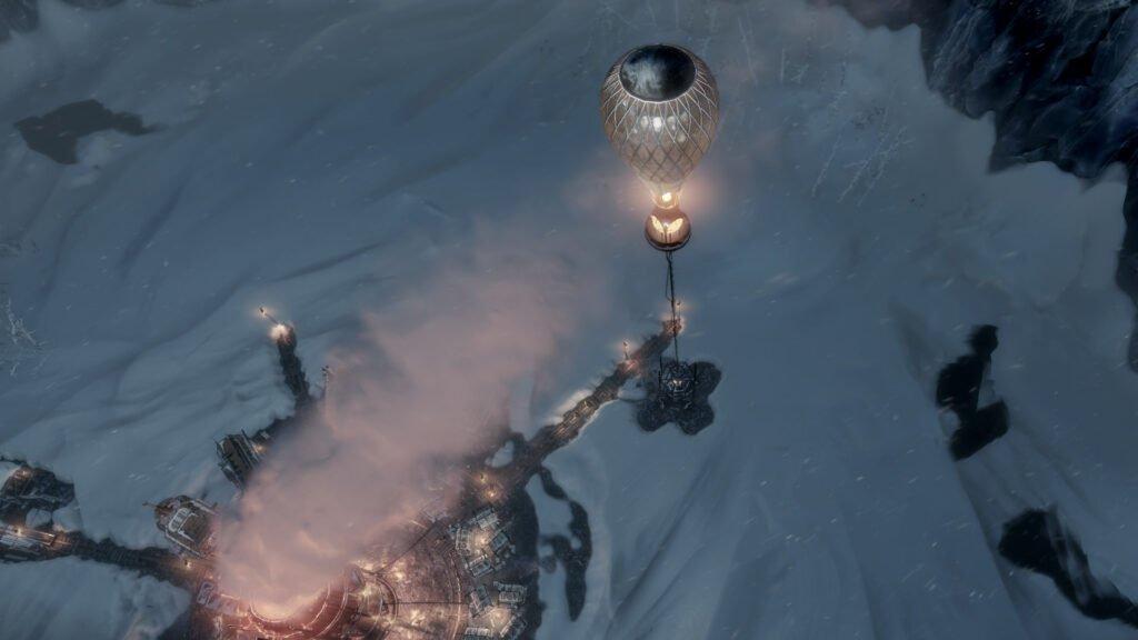 Frostpunk beacon balloon rising into the air