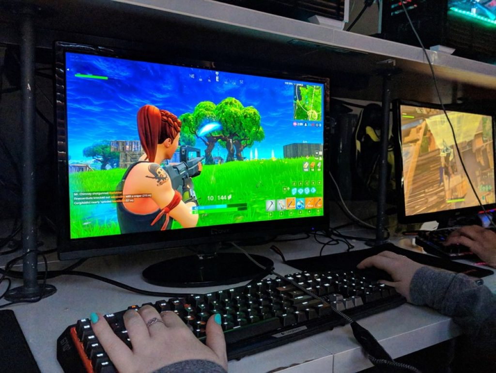 Gamer Playing Fortnite on a PC