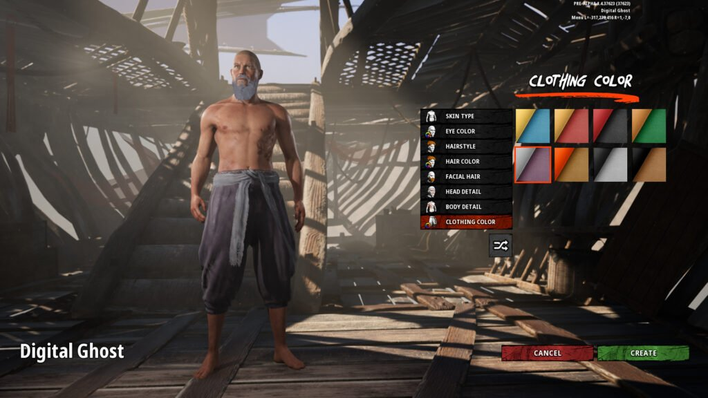 Last Oasis Character Creation Screen